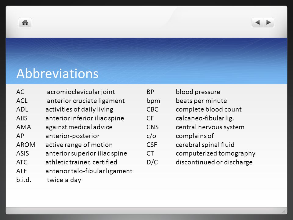 Abbreviations AC acromioclavicular joint BP blood pressure