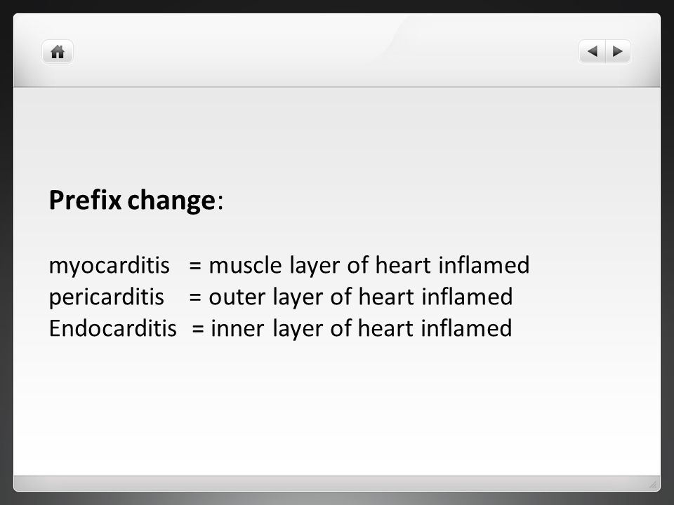 Prefix change: myocarditis = muscle layer of heart inflamed