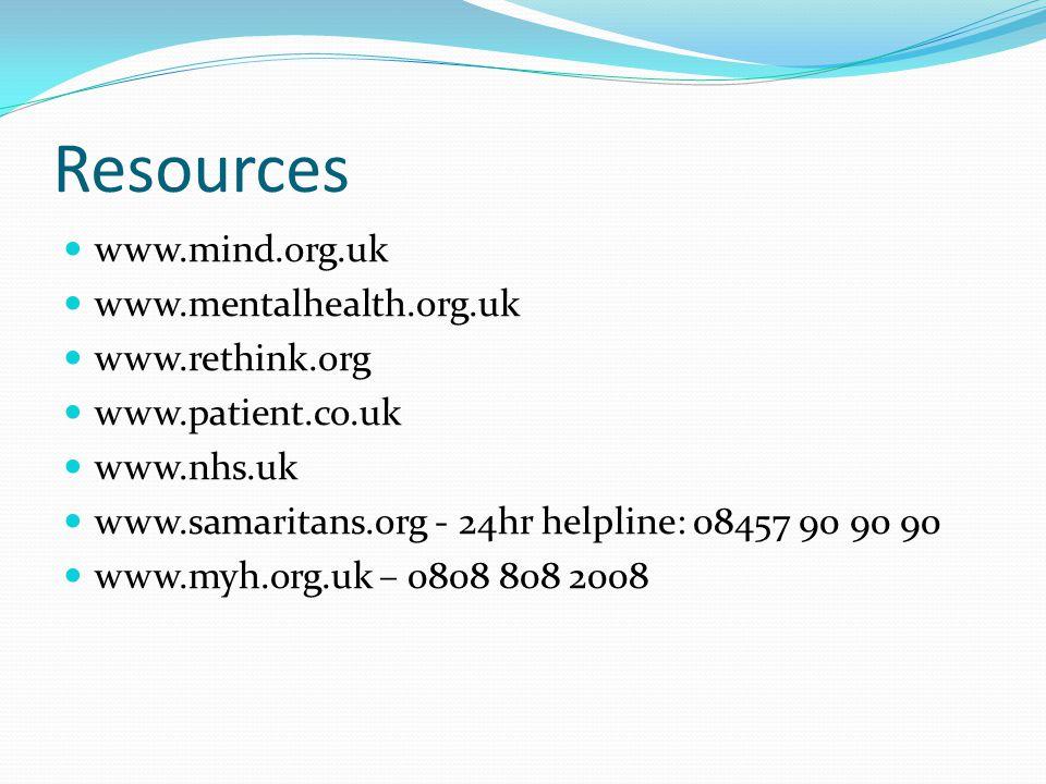 Resources www.mind.org.uk www.mentalhealth.org.uk www.rethink.org