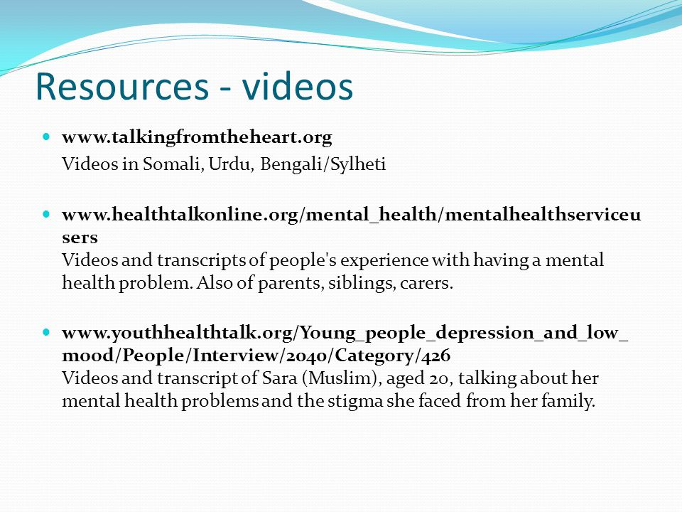 Resources - videos www.talkingfromtheheart.org