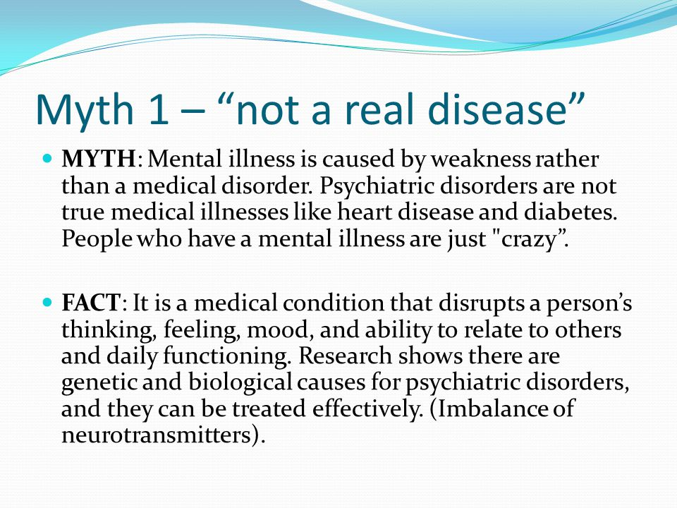 Myth 1 – not a real disease