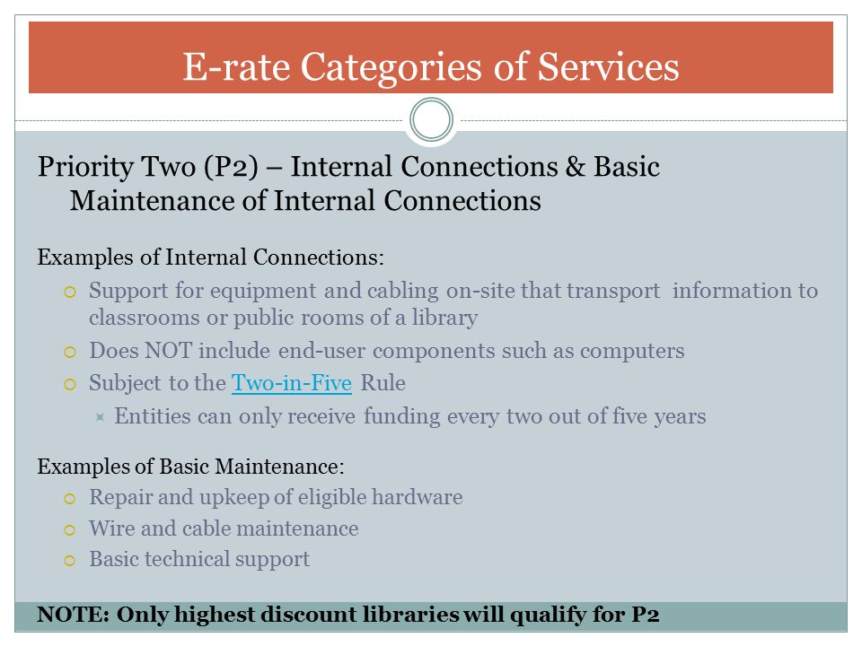 E-rate Categories of Services