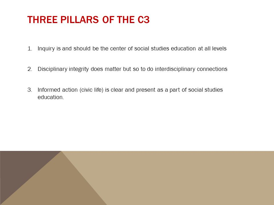 Three Pillars of the C3 Inquiry is and should be the center of social studies education at all levels.