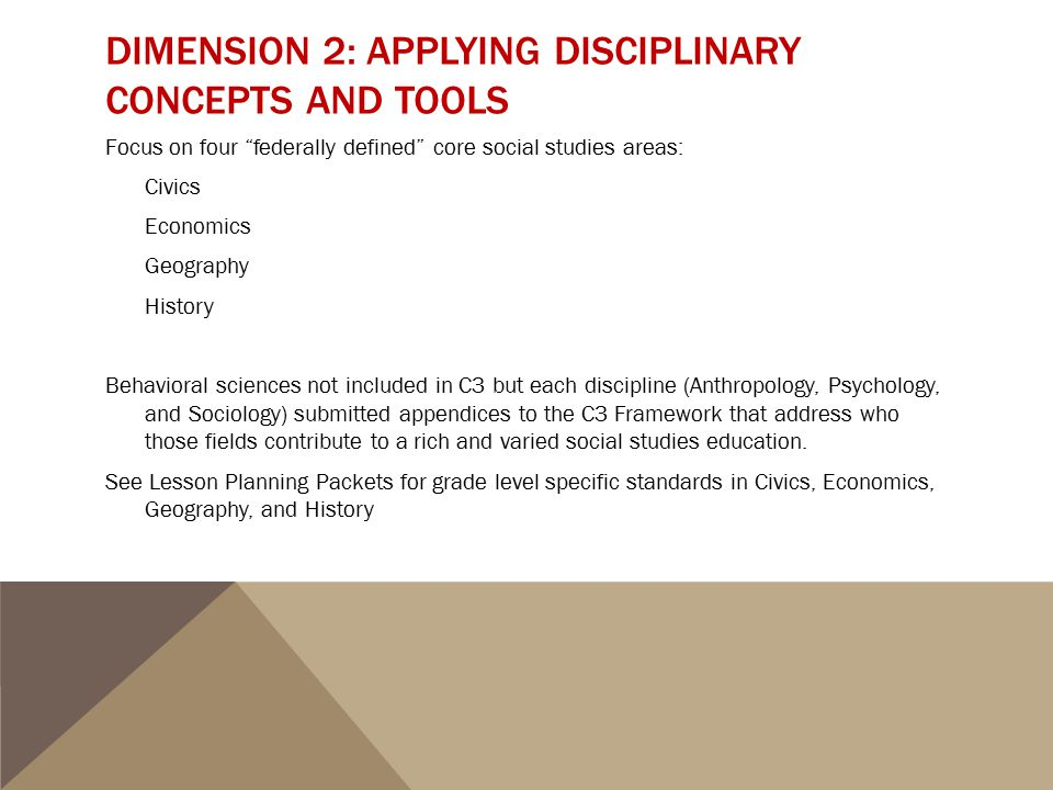 Dimension 2: Applying Disciplinary Concepts and Tools