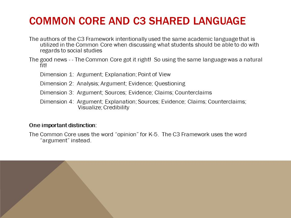 Common Core and C3 Shared Language