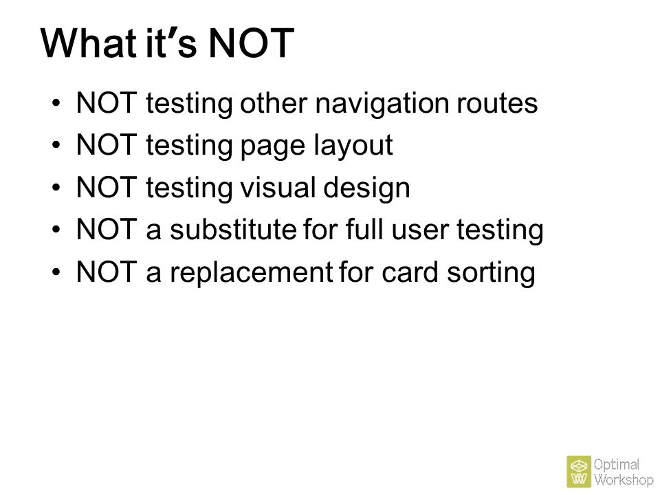 What it's NOT NOT testing other navigation routes