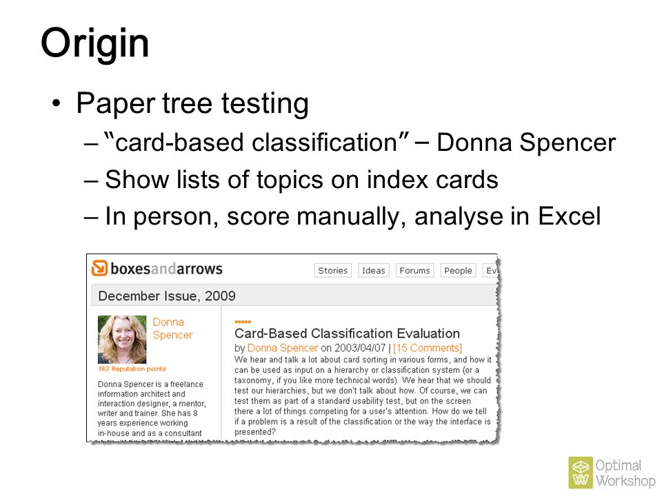 Origin Paper tree testing card-based classification – Donna Spencer