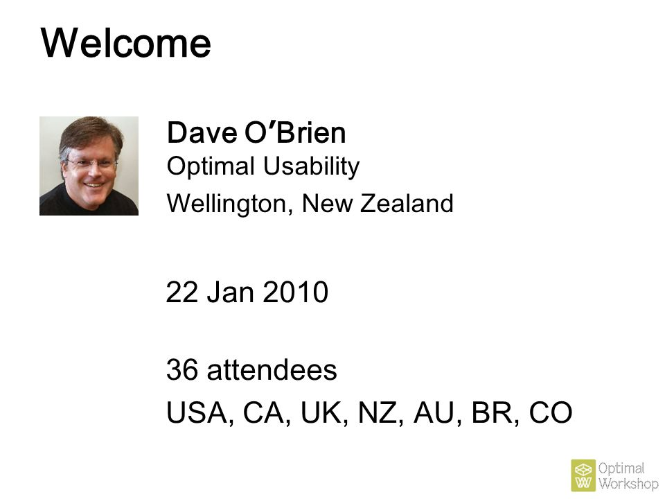 Welcome Dave O'Brien Optimal Usability 22 Jan 2010 36 attendees