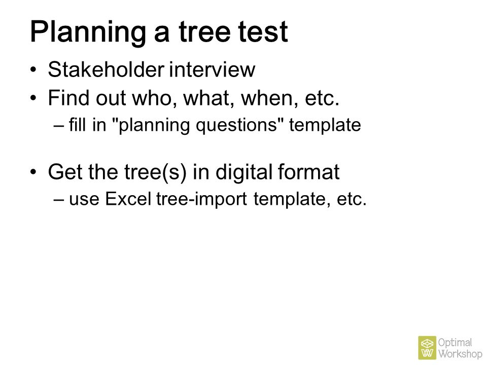 Planning a tree test Stakeholder interview