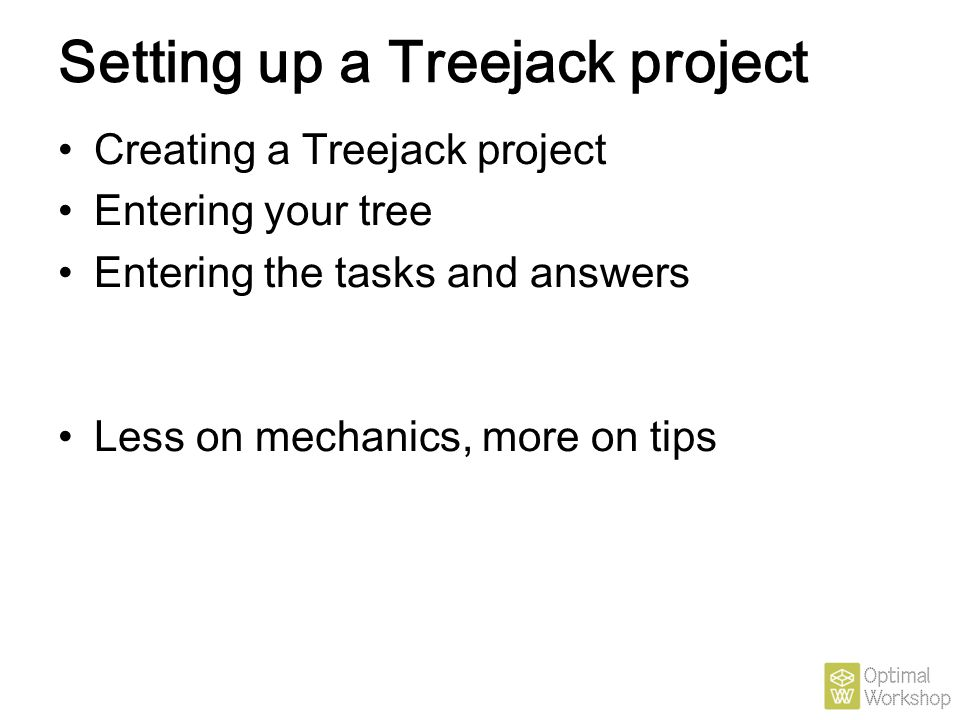 Setting up a Treejack project