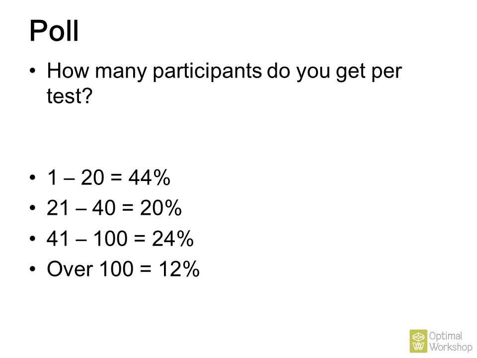 Poll How many participants do you get per test 1 – 20 = 44%