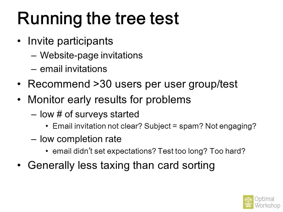 Running the tree test Invite participants