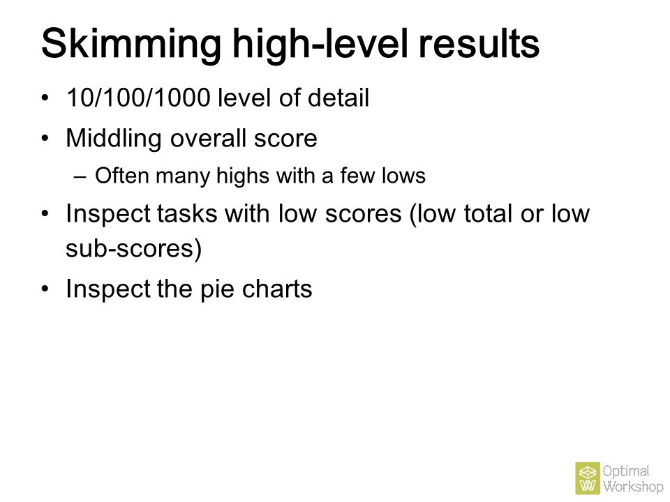 Skimming high-level results