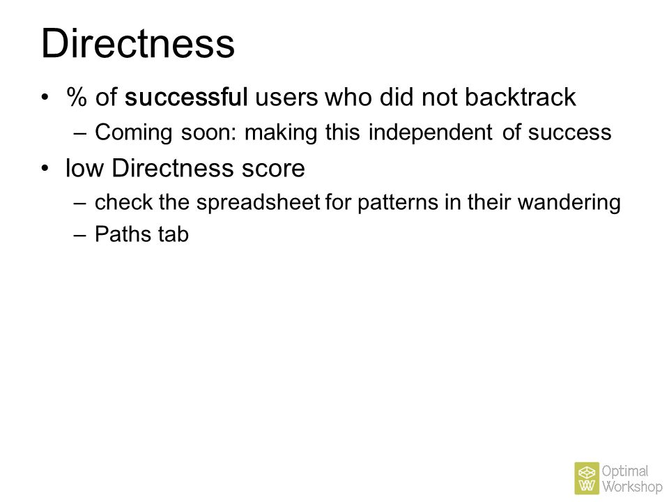 Directness % of successful users who did not backtrack