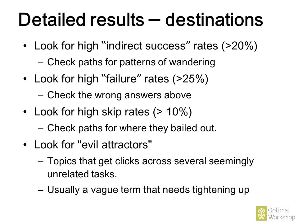 Detailed results – destinations