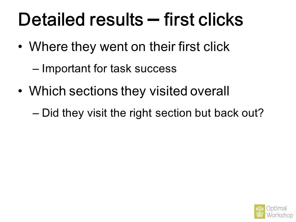 Detailed results – first clicks