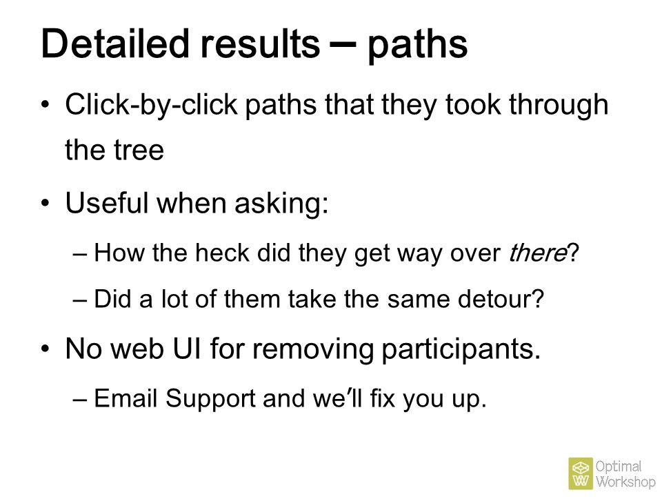 Detailed results – paths