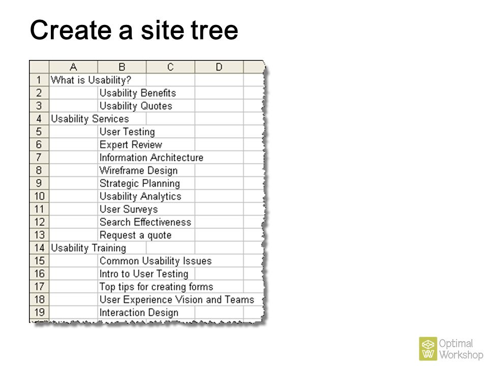 Create a site tree