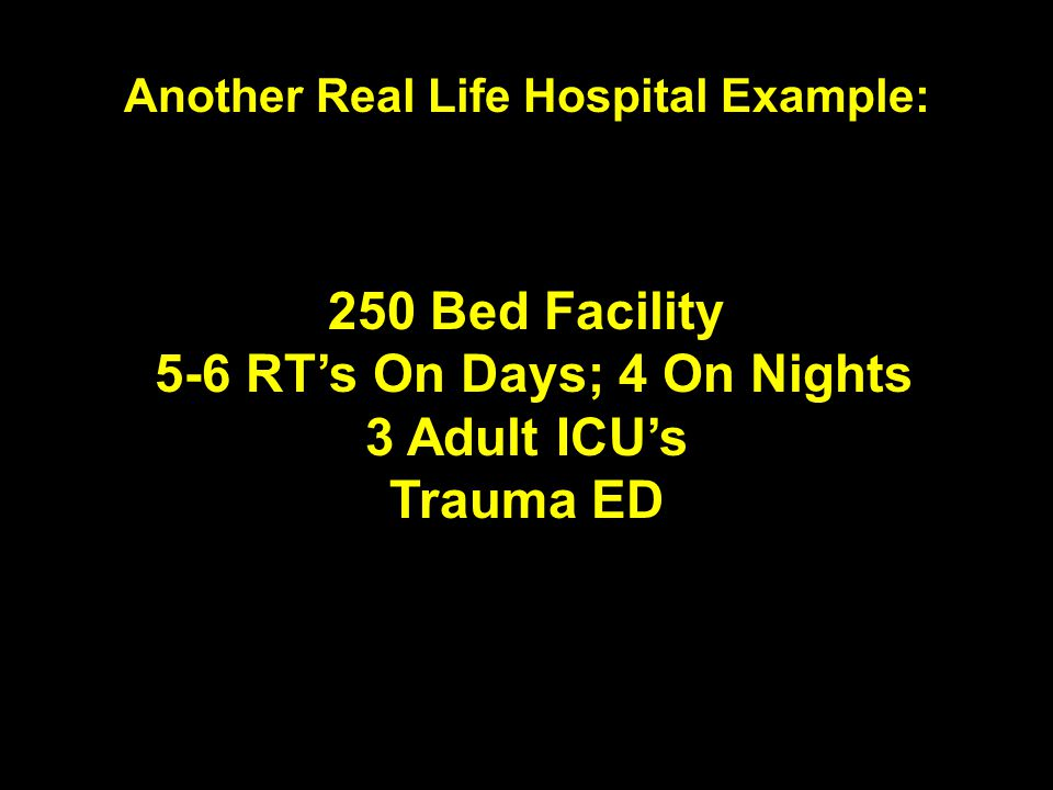 Another Real Life Hospital Example: 5-6 RT's On Days; 4 On Nights