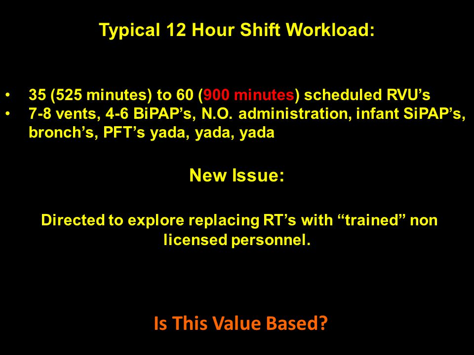 Typical 12 Hour Shift Workload: