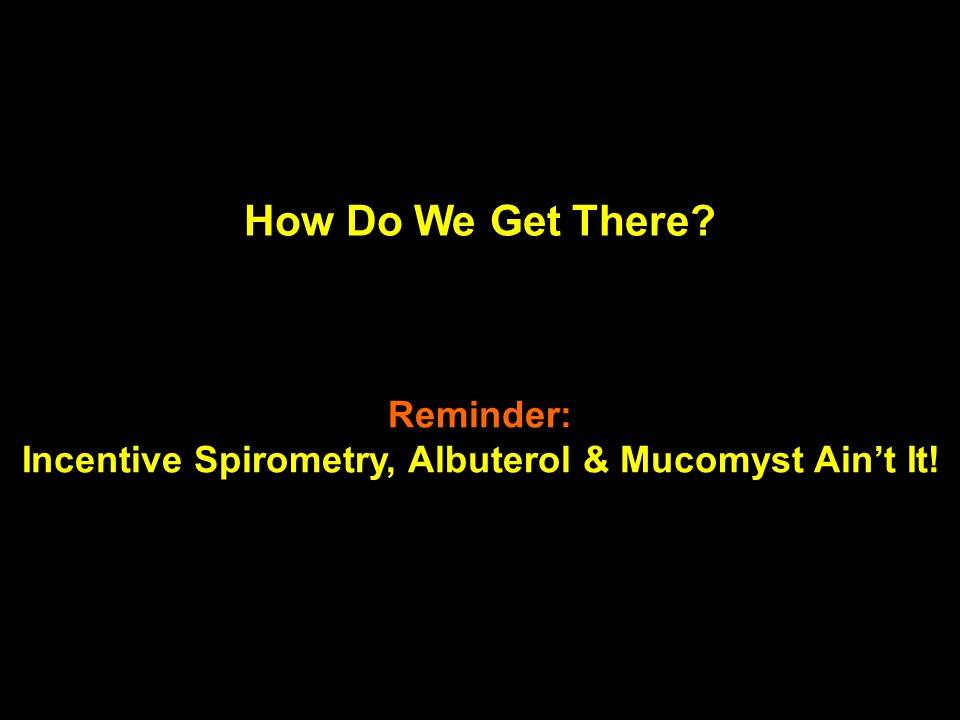 Incentive Spirometry, Albuterol & Mucomyst Ain't It!