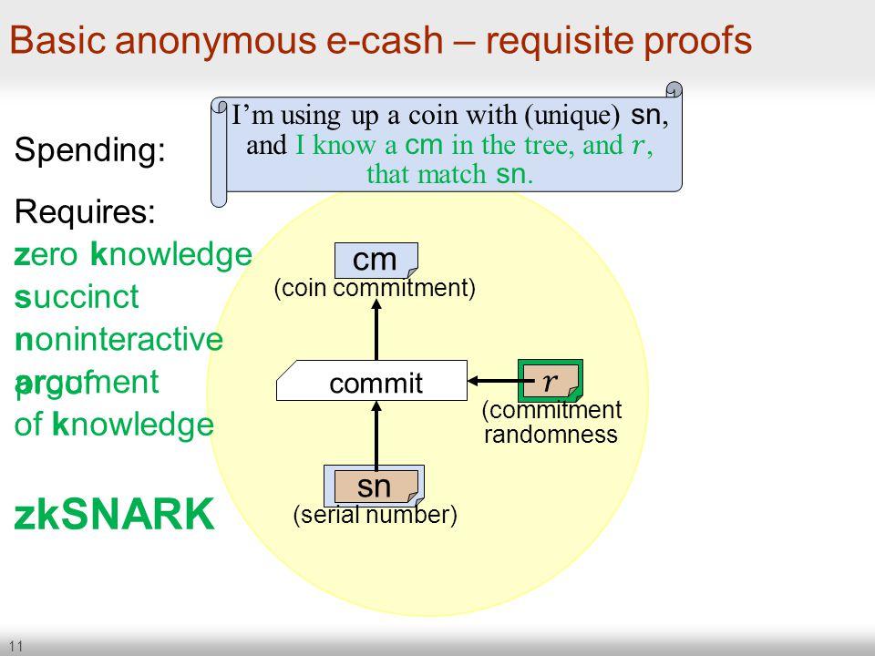 Basic anonymous e-cash – requisite proofs