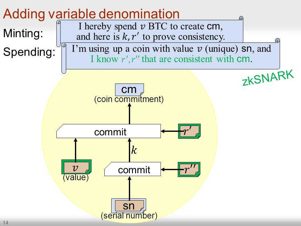 Adding variable denomination