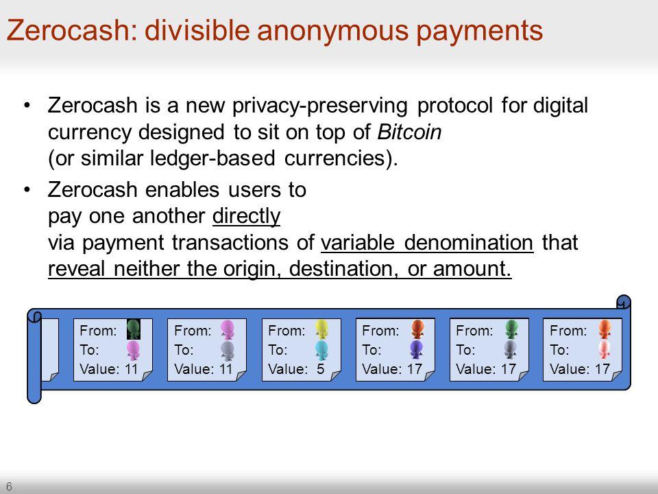 Zerocash: divisible anonymous payments