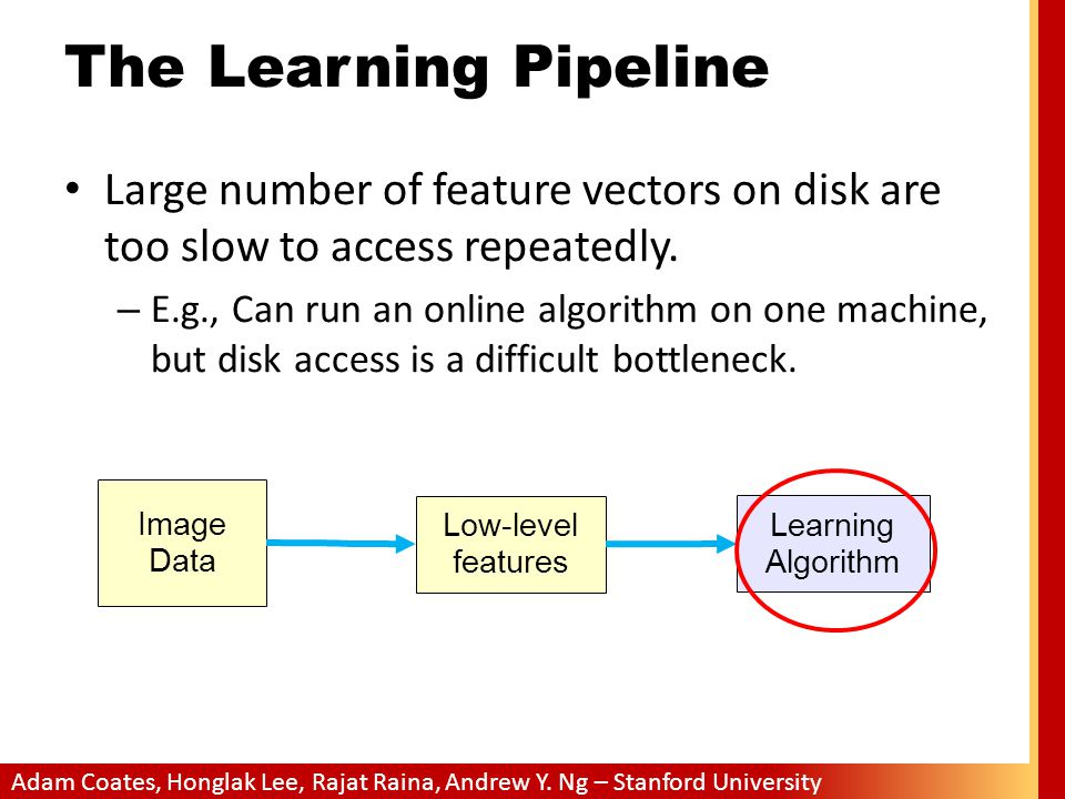 The Learning Pipeline Large number of feature vectors on disk are too slow to access repeatedly.