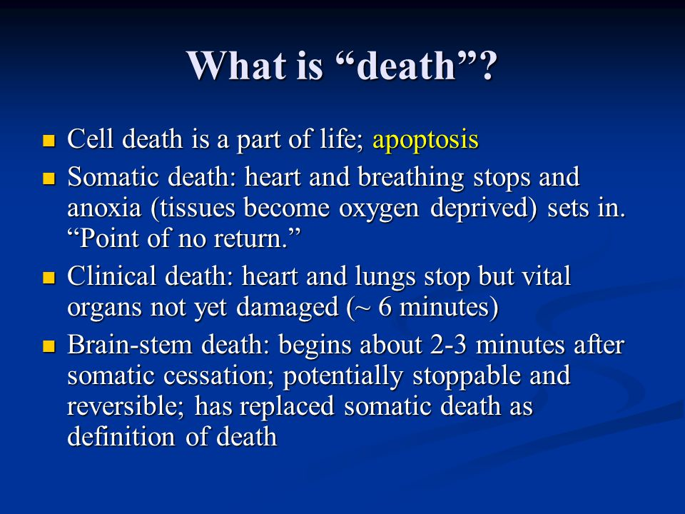 What is death Cell death is a part of life; apoptosis