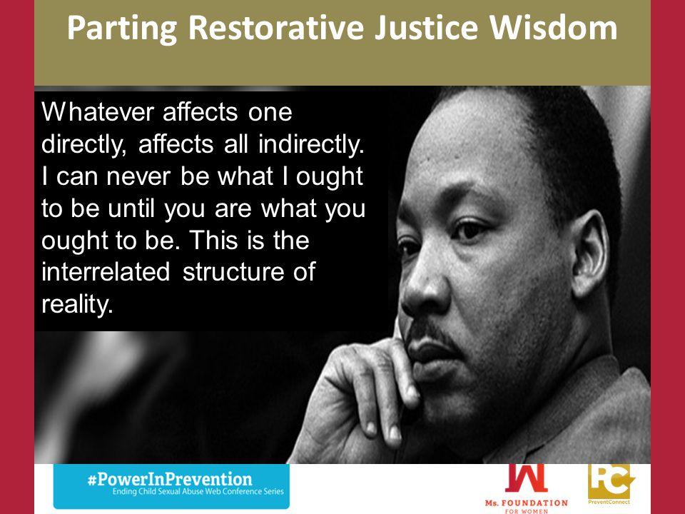 Parting Restorative Justice Wisdom