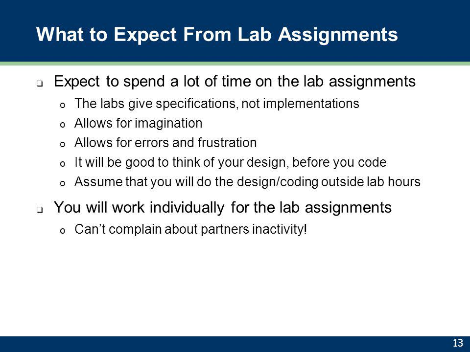What to Expect From Lab Assignments