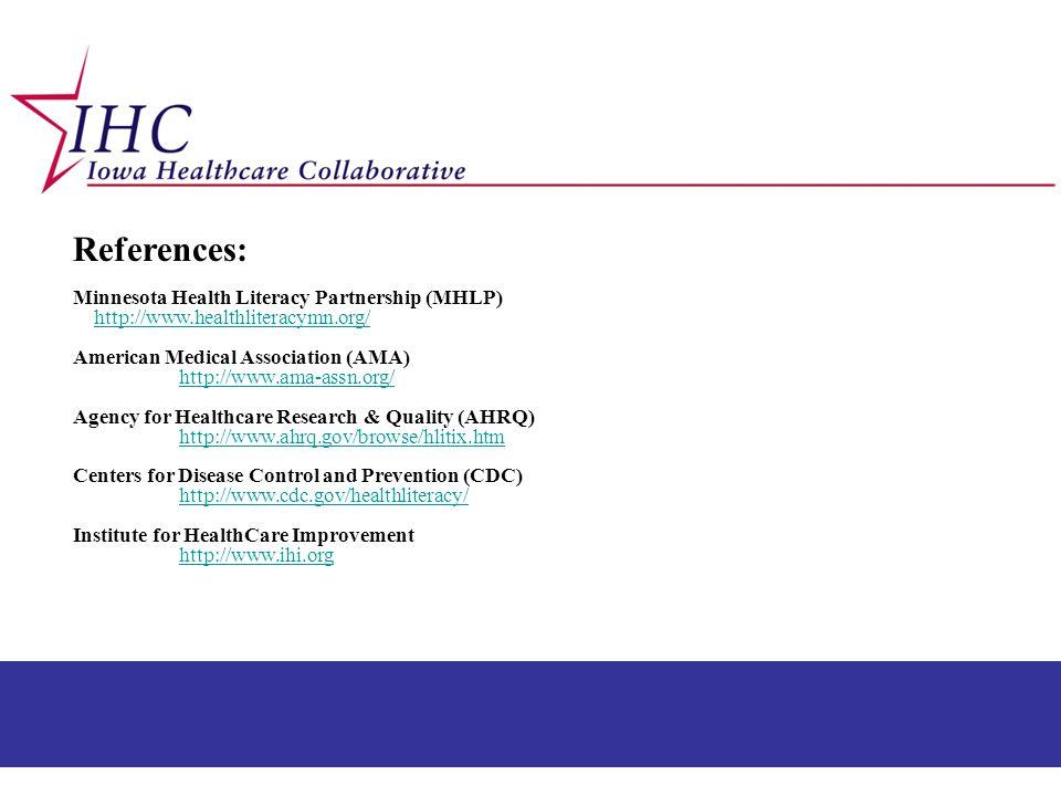 References: Minnesota Health Literacy Partnership (MHLP)