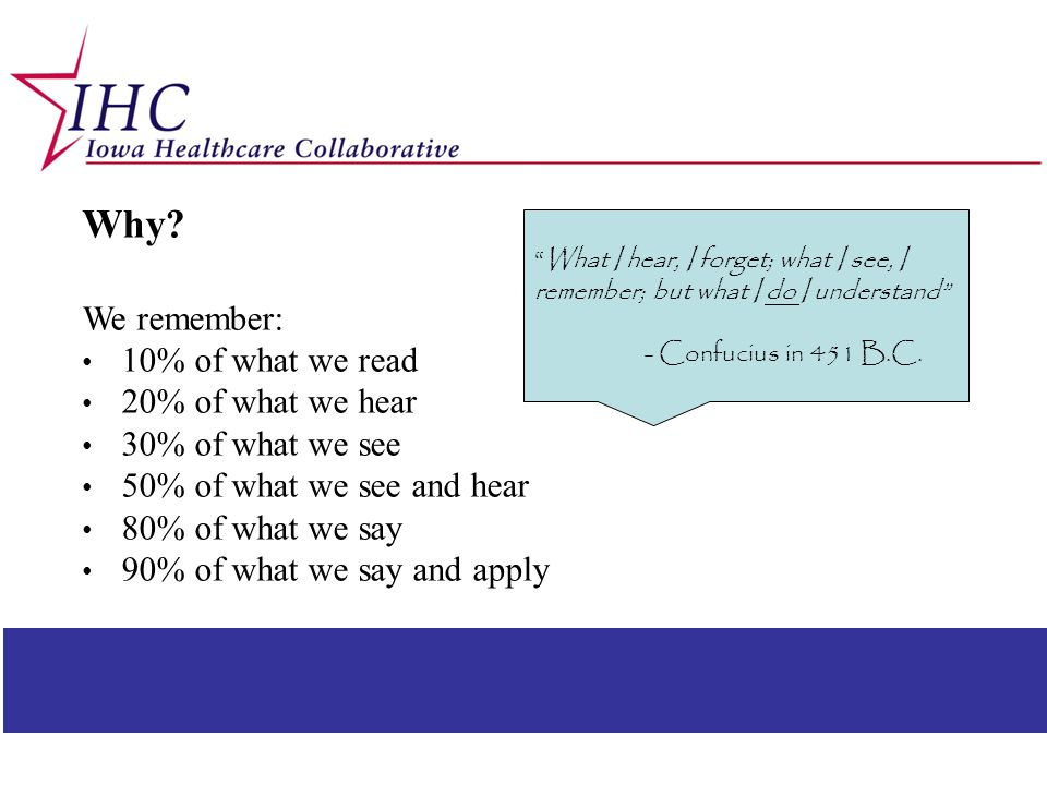 Why We remember: 10% of what we read 20% of what we hear