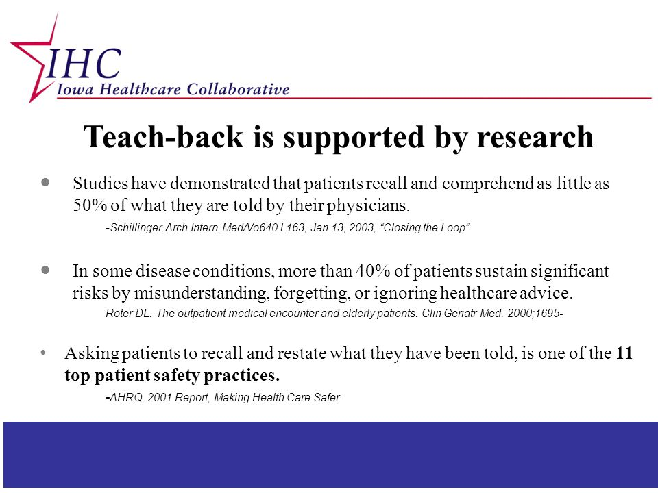 Teach-back is supported by research