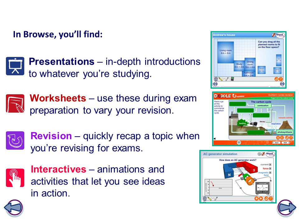 In Browse, you'll find: Presentations – in-depth introductions to whatever you're studying.