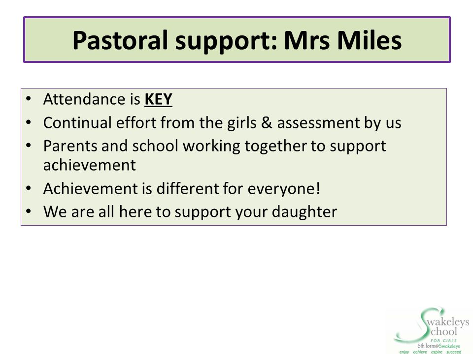 Pastoral support: Mrs Miles