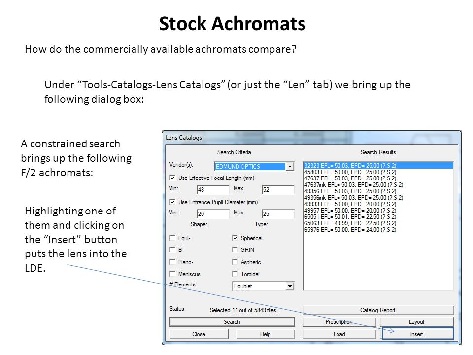 Stock Achromats How do the commercially available achromats compare