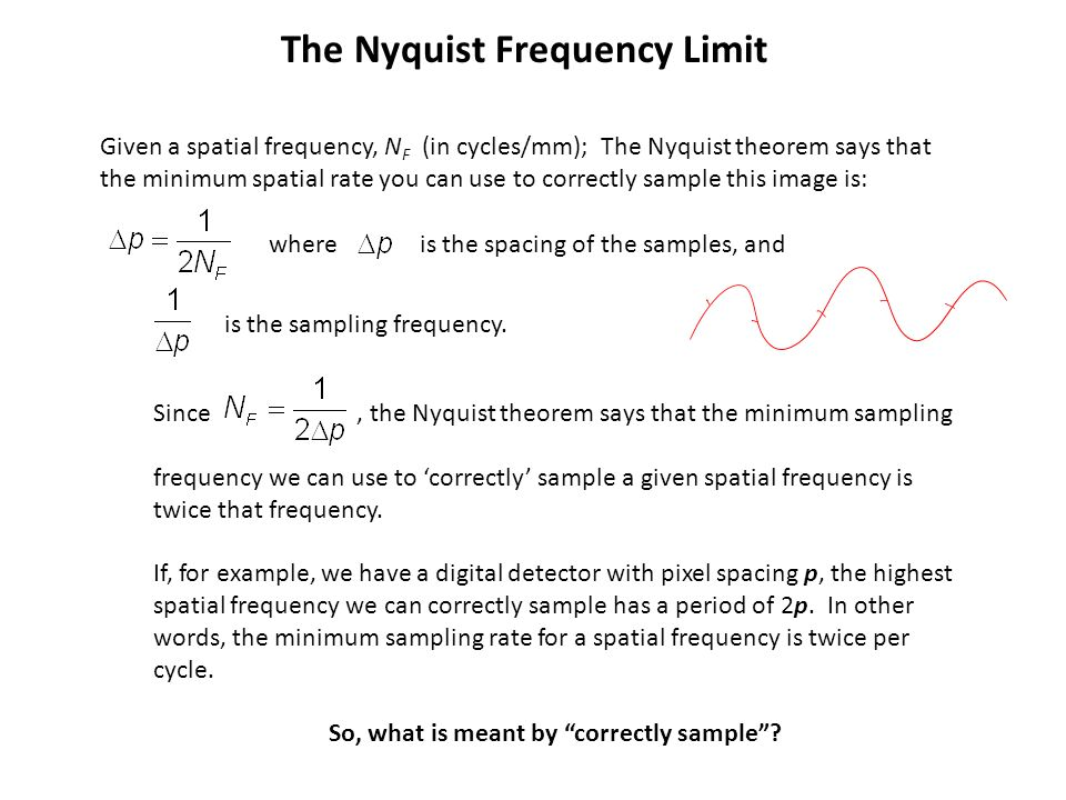 The Nyquist Frequency Limit So, what is meant by correctly sample