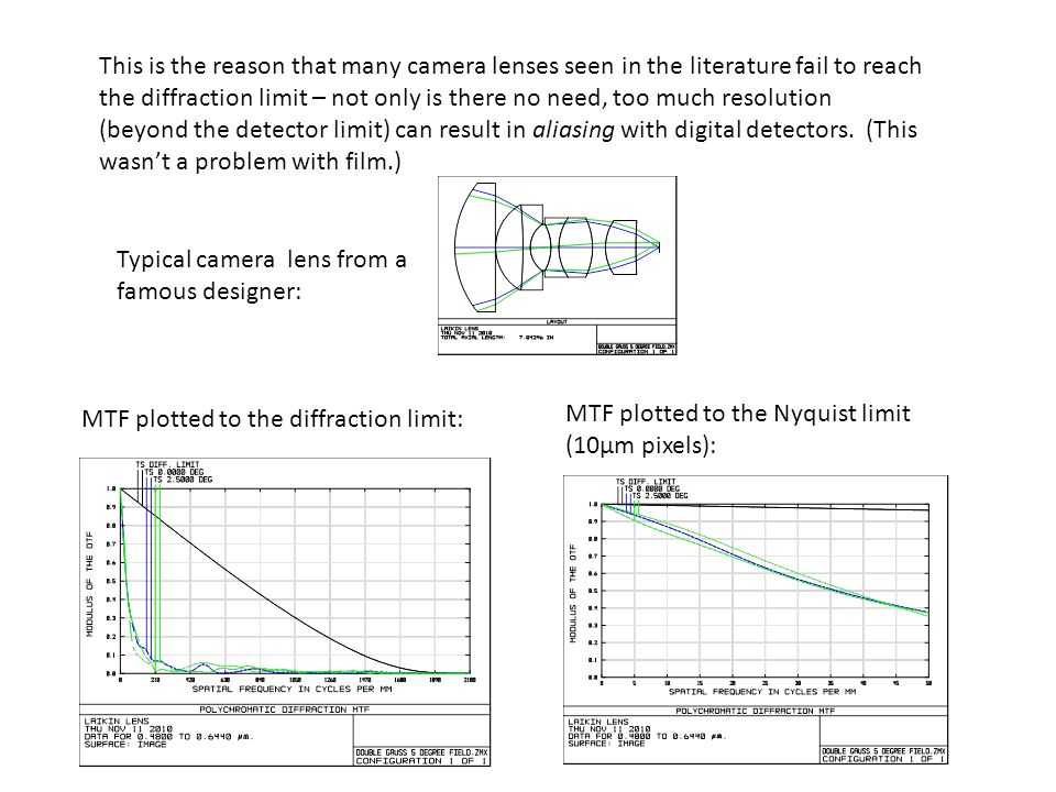 This is the reason that many camera lenses seen in the literature fail to reach the diffraction limit – not only is there no need, too much resolution (beyond the detector limit) can result in aliasing with digital detectors. (This wasn't a problem with film.)