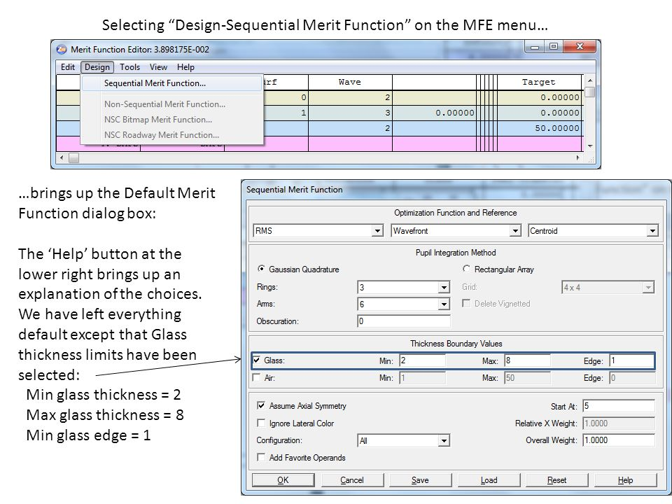Selecting Design-Sequential Merit Function on the MFE menu…