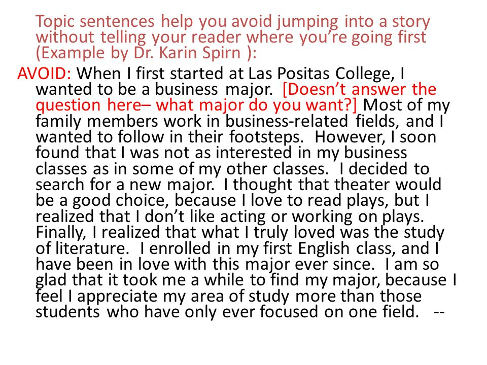 Topic sentences help you avoid jumping into a story without telling your reader where you're going first (Example by Dr. Karin Spirn ):