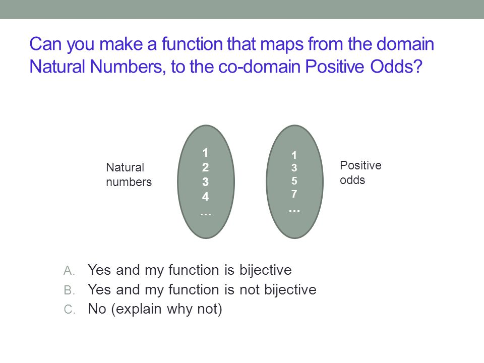 Can you make a function that maps from the domain Natural Numbers, to the co-domain Positive Odds