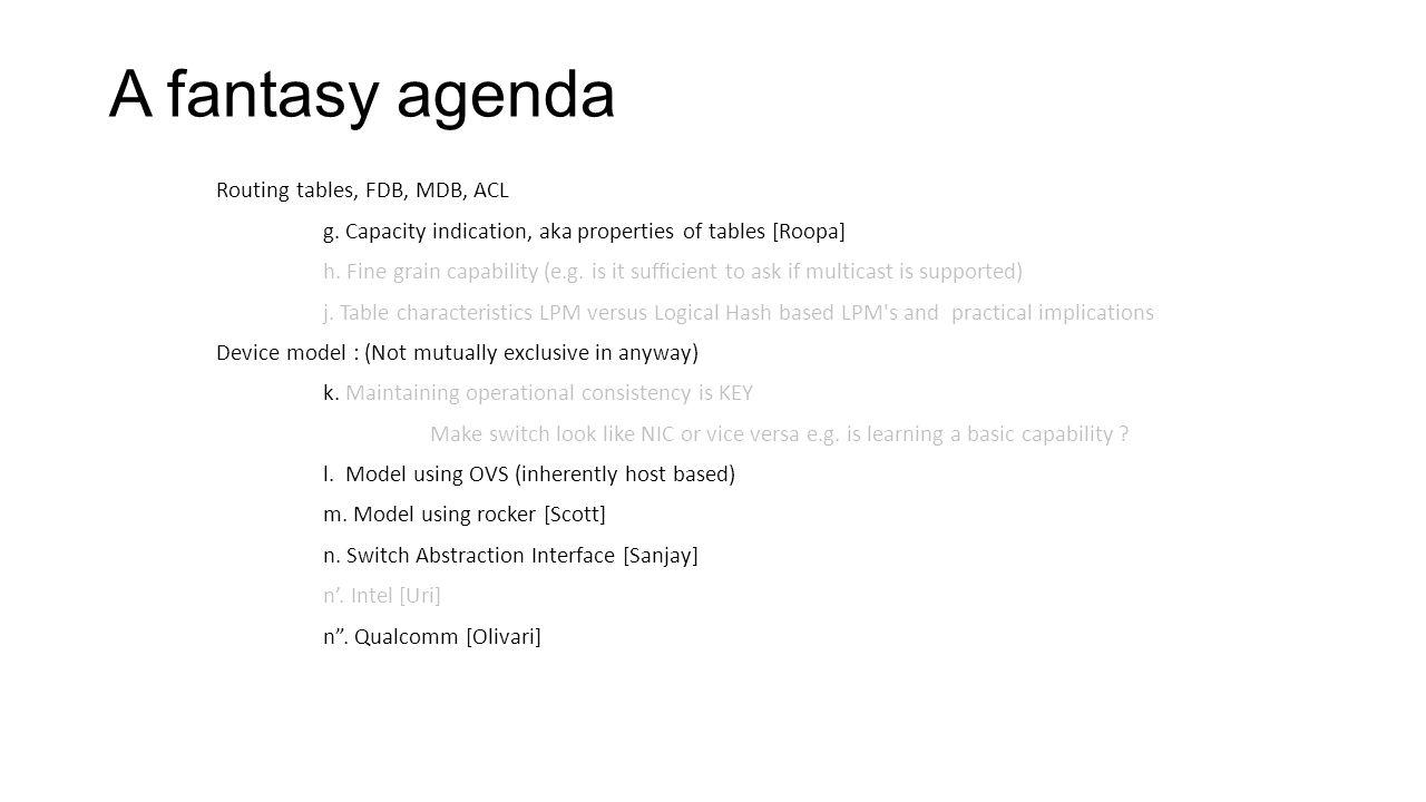 A fantasy agenda