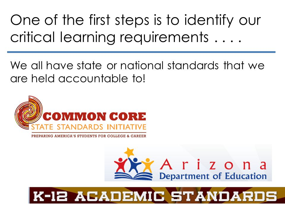 One of the first steps is to identify our critical learning requirements . . . .