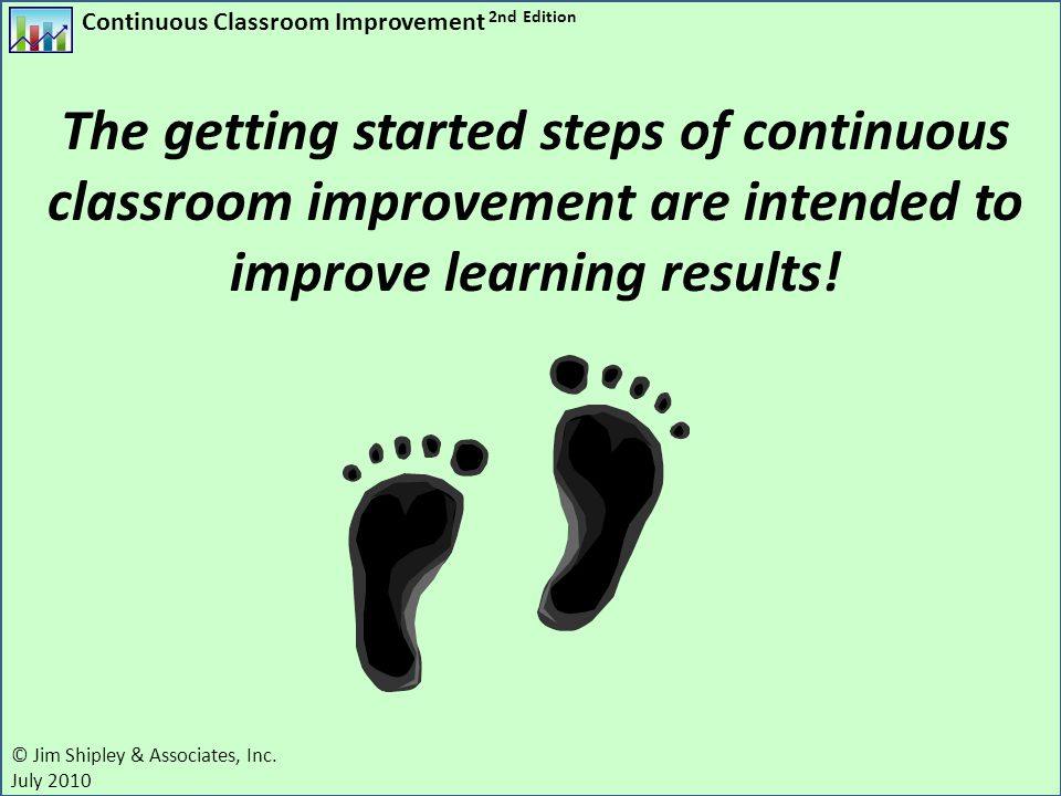 The getting started steps of continuous classroom improvement are intended to improve learning results!