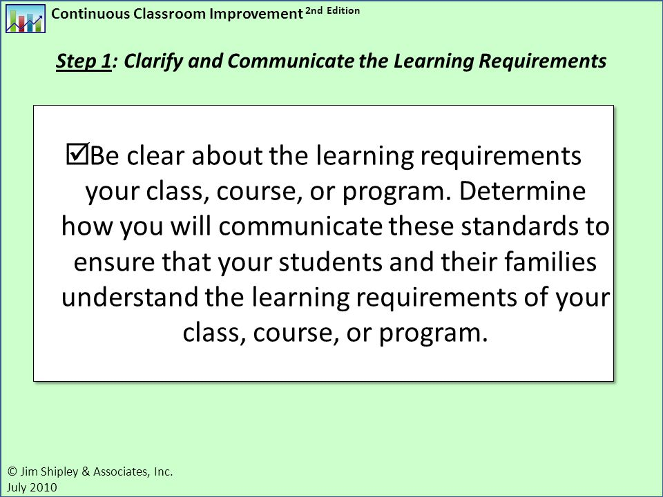 Step 1: Clarify and Communicate the Learning Requirements