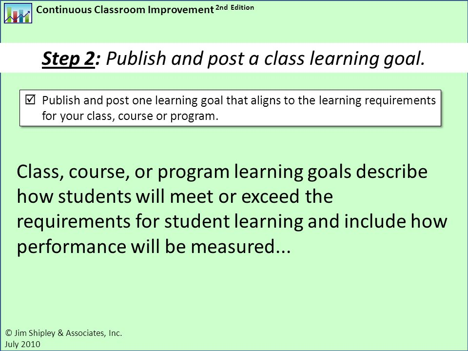 Step 2: Publish and post a class learning goal.