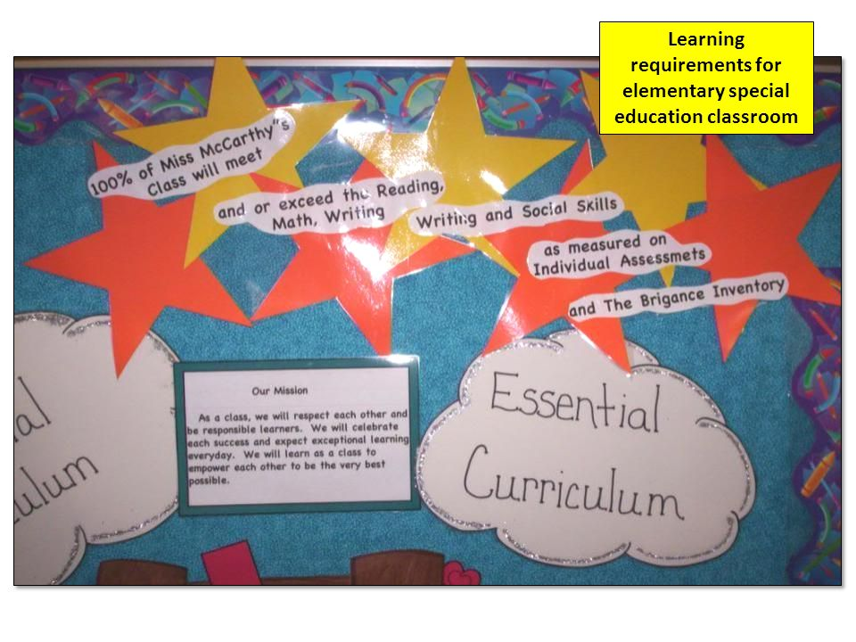 Learning requirements for elementary special education classroom