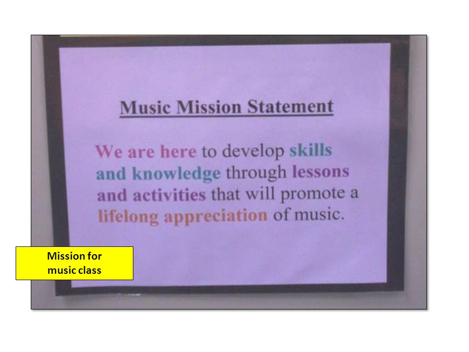 Mission for music class